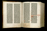 Image of the Gutenberg Bible open to pages 003 verso and 004 recto.