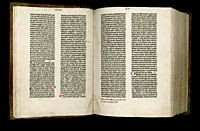 Image of the Gutenberg Bible open to pages 008 verso and 009 recto.