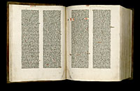Image of the Gutenberg Bible open to pages 011 verso and 012 recto.
