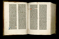 Image of the Gutenberg Bible open to pages 012 verso and 013 recto.