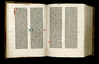 Image of the Gutenberg Bible open to pages 013 verso and 014 recto.