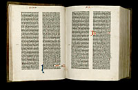 Image of the Gutenberg Bible open to pages 022 verso and 023 recto.