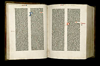 Image of the Gutenberg Bible open to pages 025 verso and 026 recto.