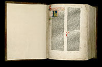 Image of the Gutenberg Bible open to endpaper and page 001 recto.