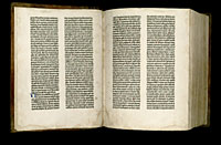 Image of the Gutenberg Bible open to pages 002 verso and 003 recto.