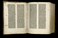 Image of the Gutenberg Bible open to pages 005 verso and 006 recto.