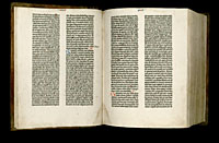 Image of the Gutenberg Bible open to pages 007 verso and 008 recto.