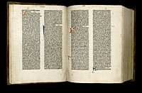 Image of the Gutenberg Bible open to pages 010 verso and 011 recto.